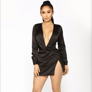 Black long sleeve satin dress